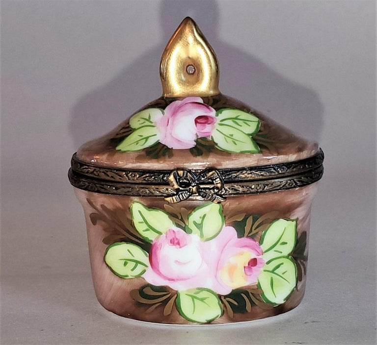 """Presenting a lovely and exceptionally cute vintage Limoges single perfume bottle box.  Made in Limoges, France circa 1920-30.  Marked on base as """"Peint Main … Limoges France …. M.B."""".  'Peint Main' meaning hand painted.  The maker """"M.B."""" is"""