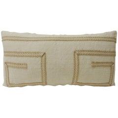 Vintage Linen Bolster Decorative Pillow with Vintage Jute Trims