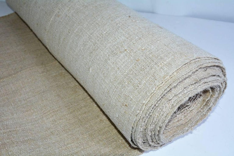 British Vintage Linen Grain Sack Fabric For Sale