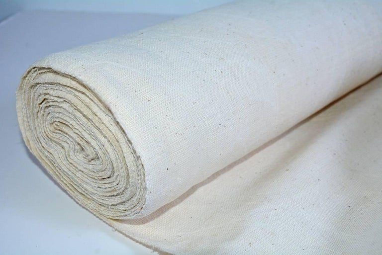 British Vintage Linen Grain Sack Fabric For Sale