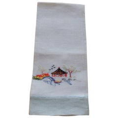 Vintage Linen Hand Embroidery Towel