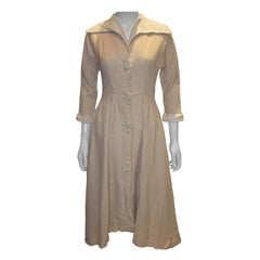 Vintage Linen Mix Dress with Interesting Collar