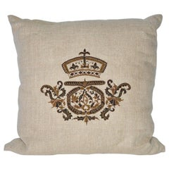 Vintage Linen Pillow Cover with Embroidery and Pillow Insert
