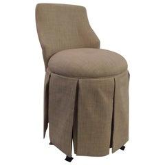 Vintage Linen Upholstery Vanity Swivel Stool