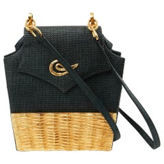 Vintage Linen Wicker Bag by Christian Lacroix Gold Tone