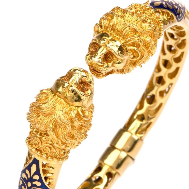 Vintage Lion Head Enamel Gold Cuff Bangle Bracelet For Sale 1