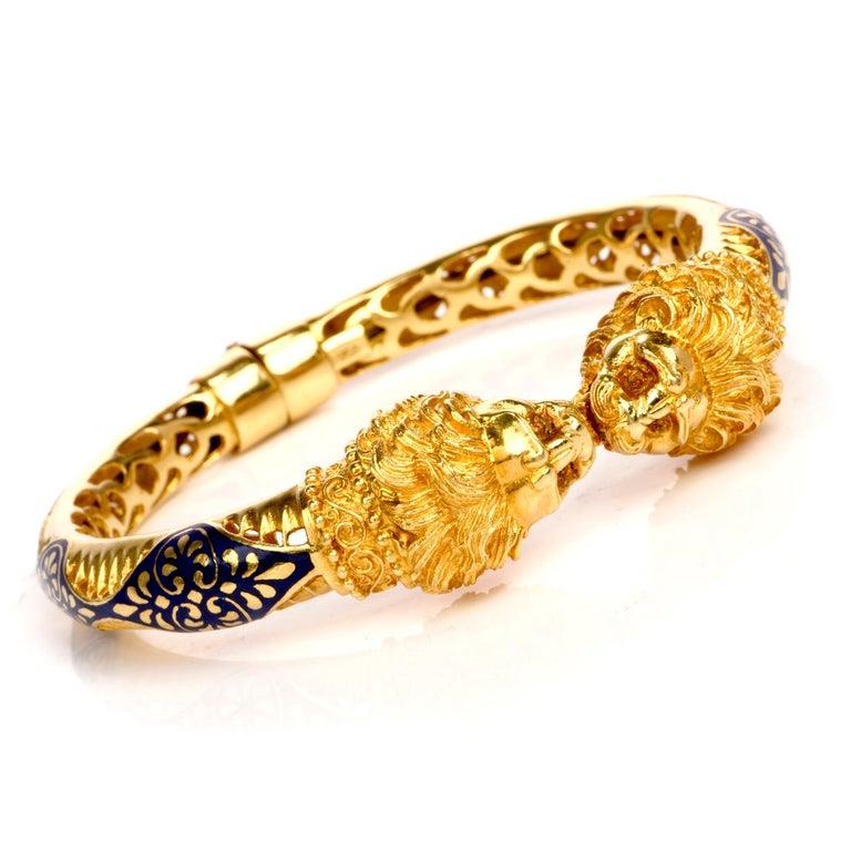 Vintage Lion Head Enamel Gold Cuff Bangle Bracelet For Sale 2