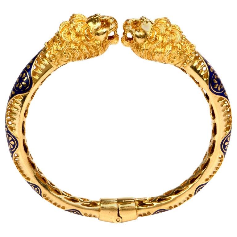 Vintage Lion Head Enamel Gold Cuff Bangle Bracelet For Sale