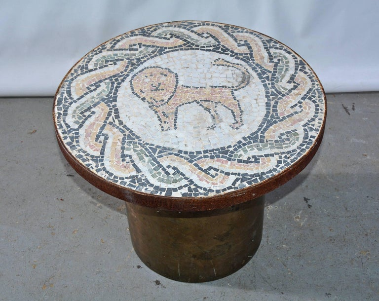 Classical Roman Vintage Lion Mosaic and Brass Drum Coffee Table For Sale