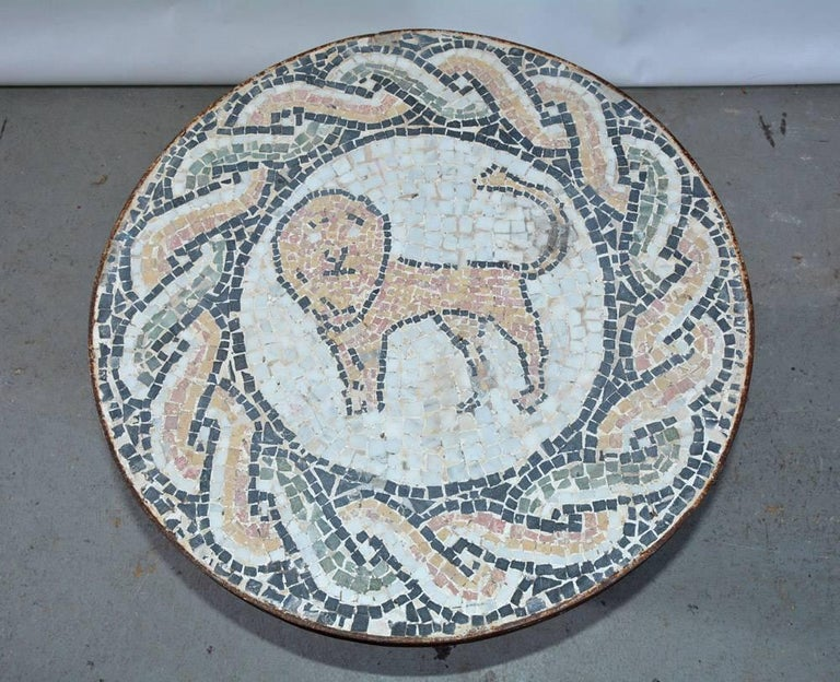Italian Vintage Lion Mosaic and Brass Drum Coffee Table For Sale