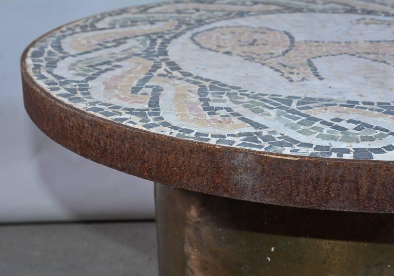 Vintage Lion Mosaic and Brass Drum Coffee Table In Fair Condition For Sale In Great Barrington, MA