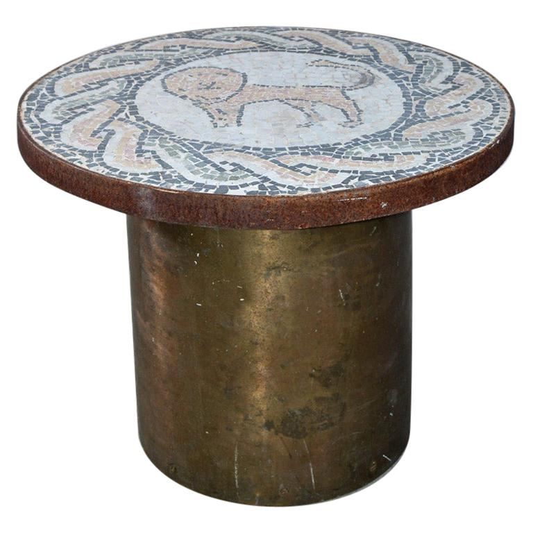 Vintage Lion Mosaic and Brass Drum Coffee Table For Sale