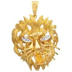 Vintage Lion Pendant Large Head Diamond Eyes 18 Karat Yellow Gold Animal Jewelry