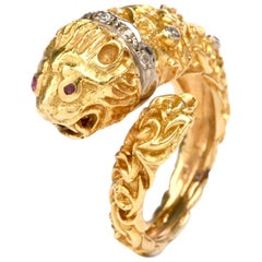 Vintage Lion Ruby Diamond Gold Cocktail Ring