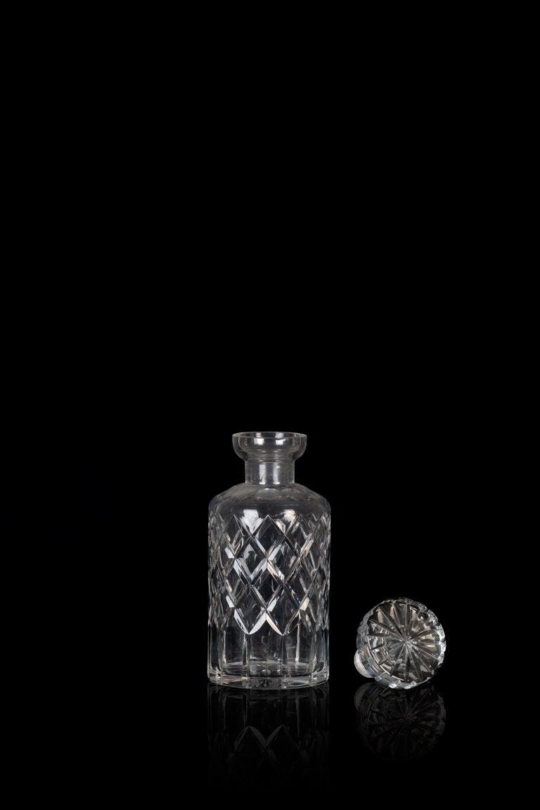 European Vintage Liquor Glass Bottle, Mid-20th Century For Sale