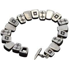 Vintage Lisa Jenks Modernist Rectangular Link Sterling Silver Bracelet