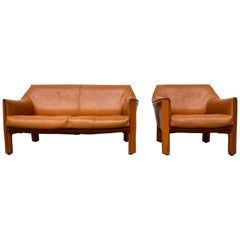Vintage Livingroomset 415 Cab in Cognac Leather by Mario Bellini, Italy