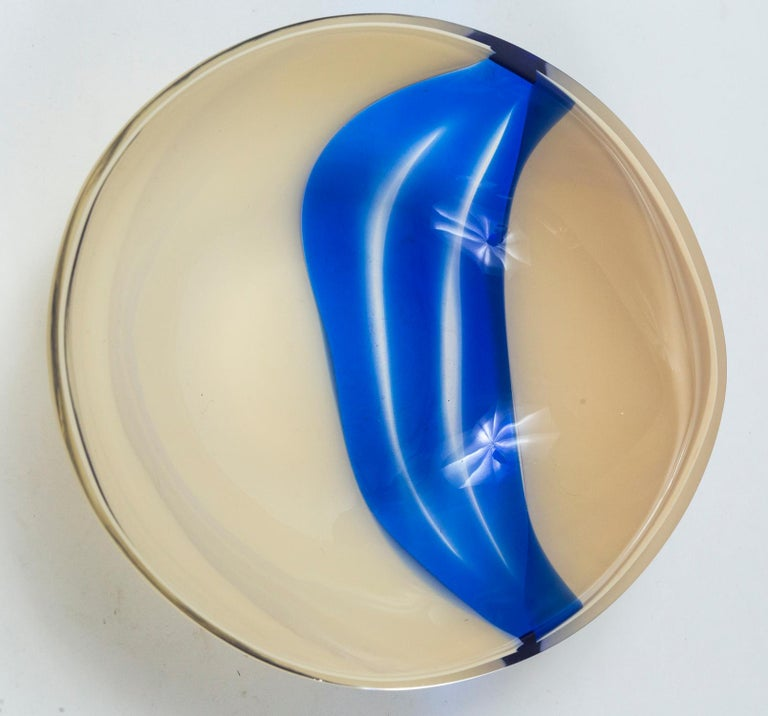 Blown Glass Vintage Livio Seguso Sculptural Glass Bowl, Murano, Italy, circa 1970