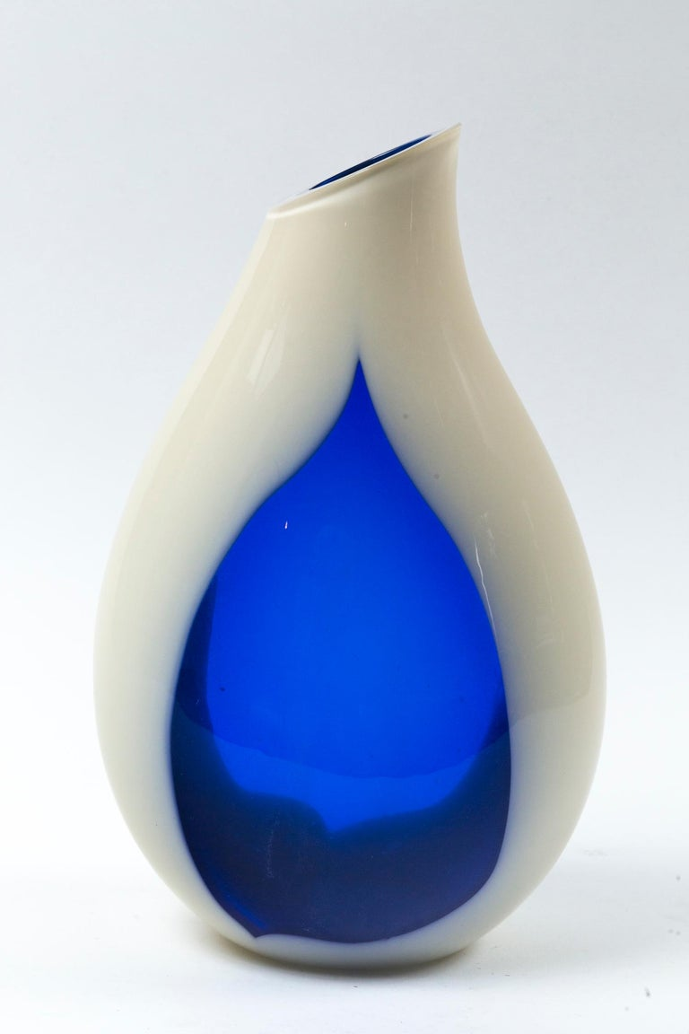 Vintage Livio Seguso Sculptural Vase, Murano, Italy, circa 1970. Hand-blown glass teardrop shape vase. Creamy-white opaque and clear cobalt blue glass. Signed 'des. L. Seguso.'