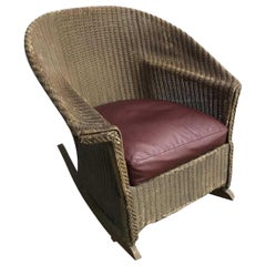 Vintage Lloyd Loom Style Brown Wicker Rocking Armchair with Cushion
