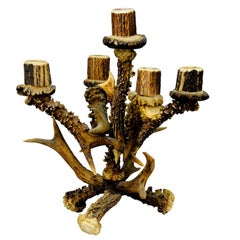 Vintage Lodge Style Design Five-Armed Antler Candleholder