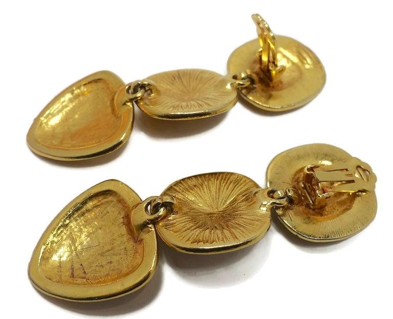 Women's Vintage Long Black Enamel & Carved Gold Tone Drop Earrings For Sale