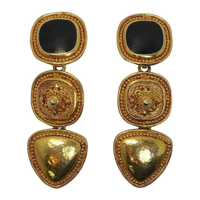 Vintage Long Black Enamel & Carved Gold Tone Drop Earrings For Sale