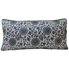 Vintage Long Blue and White Silk Floral Bolster Decorative Pillow