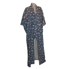 Vintage Long Blue Kimono with Rose Detail
