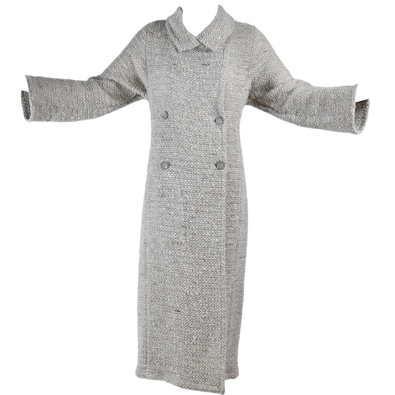 Vintage Long Chanel Coat from Autumn 1999 in Cream Brown & Blue Lesage Tweed