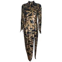 Vintage long dress sequins and print