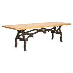 Vintage Long Farm Table with Industrial Iron Base