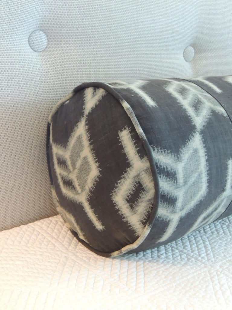Vintage long grey and black Japanese Boro textile decorative bolster pillow, self-welt in the same textile. Decorative pillow handcrafted and designed in the USA. Closure by stitch (no zipper closure) with custom-made pillow insert. Note: The