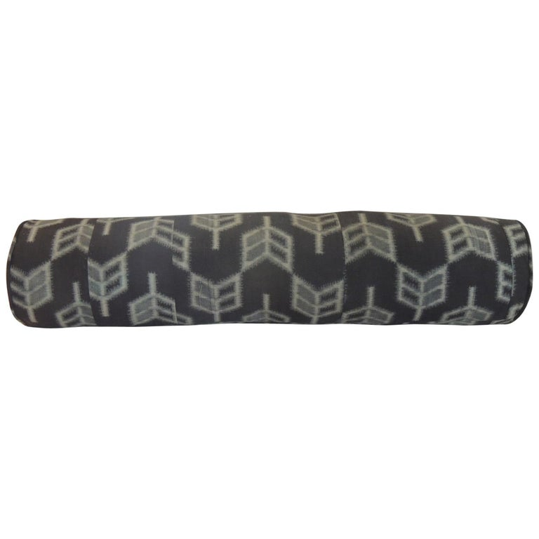 """Vintage Long Grey and Black Japanese """"Boro"""" Textile Decorative Bolster Pillow For Sale"""