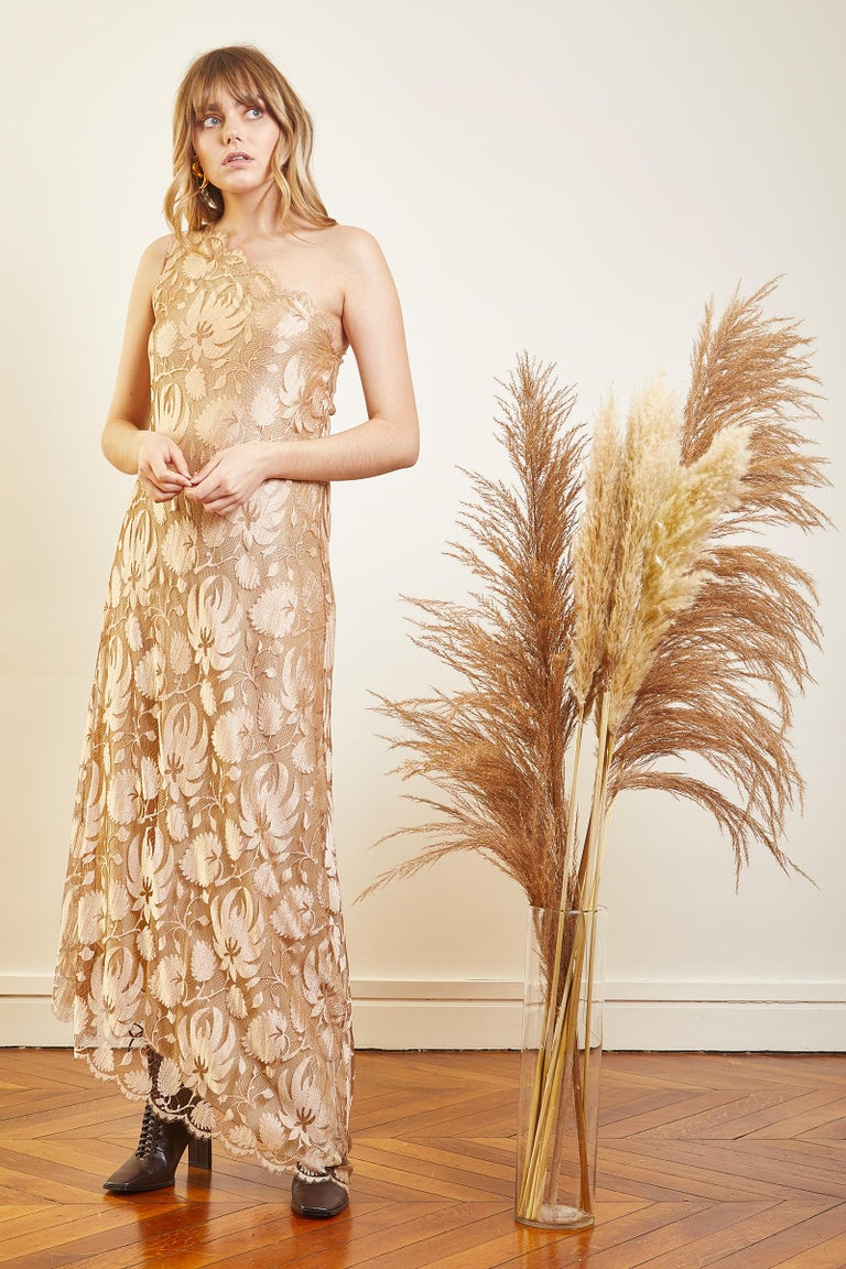 Vintage Long Lace dress Color: nude Fabric : Lace and Silk  Asymmetric at the bottom and one shoulder dress Circa 1970 Perfect Condition