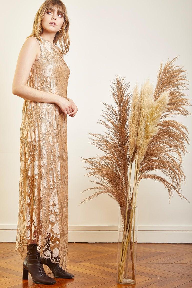 Brown Vintage Long Lace Dress For Sale