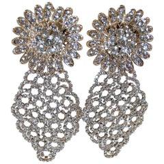Vintage Long Signed DeMario Runway Crystal Dangling Earrings