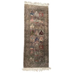 Vintage Long Silk Turkish Kayseri Rug