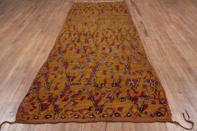 Wool Vintage Long Tribal Moroccan Runner For Sale