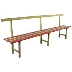 Vintage Long Wooden Plank Bench, 20th Century