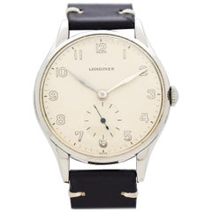 Vintage Longines Jumbo Reference 6333-11 Stainless Steel Watch, 1956