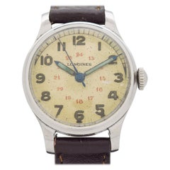 Vintage Longines Military WWII-Era Chrome and Stainless Steel Watch, 1944