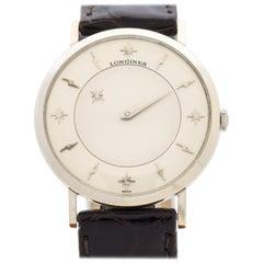 Vintage Longines Mystery Dial 10 Karat Weißgold Uhr, 1959