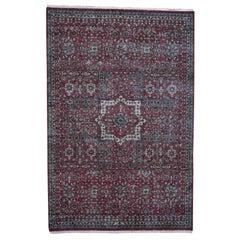 Vintage Look Mamluk Zero Pile Shaved Low Worn Wool Rug
