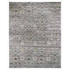 Vintage Look Pure Wool Gray Green Hand Knotted Oriental Rug