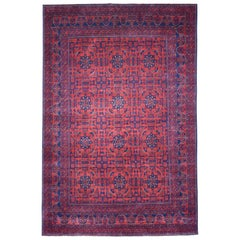 Vintage Look Red Geometric Afghan Andkhoy Pure Wool Hand Knotted Rug