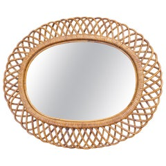 Vintage Looped Bamboo and Rattan Oval Mirror