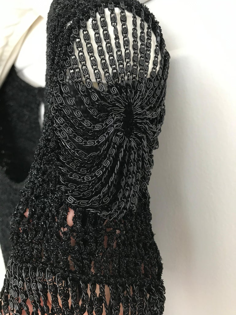 Vintage Loris Azzaro Black Knit Top with Chains For Sale 1