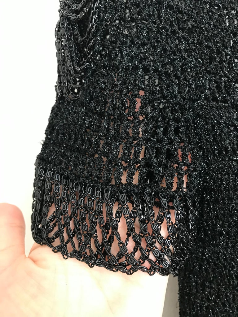Vintage Loris Azzaro Black Knit Top with Chains For Sale 2