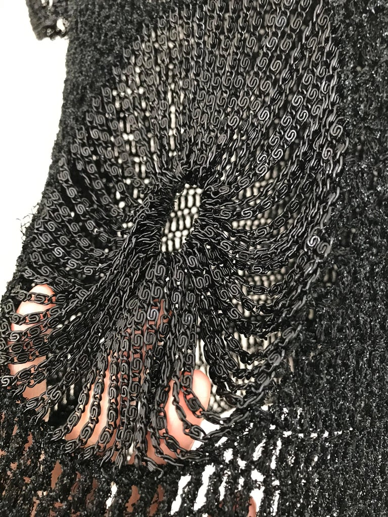 Vintage Loris Azzaro Black Knit Top with Chains For Sale 3